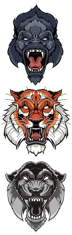 Tiger & Gorilla Vector | Sweyda, Typography, type, custom lettering, hand lettering, vector, vector illustration, action sports Más