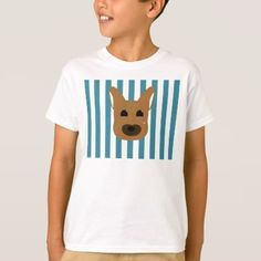Puppy Face Drawing with Blue Stripes T-Shirt - animal gift ideas animals and pets diy customize