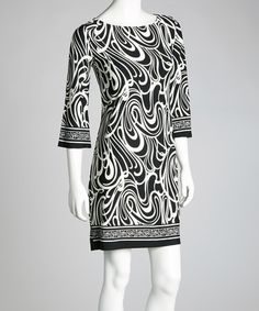 Take a look at this Black & White Swirl Dress by Modern Touch on #zulily today!