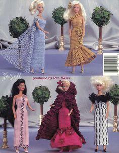 Designer Gowns Crochet Patterns Fit Barbie Fashion Dolls | eBay