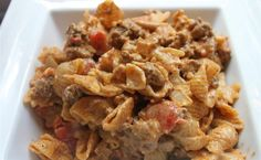One serving  Creamy Taco Mac  Adapted from  Annie's Eats  Makes 4 Servings   1 pound 96/4 ground beef  8 oz. dry pasta  ½ cup onion, chopp...