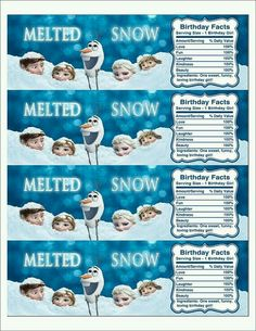 9 Best Images of Frozen Printable Water Labels - Disney Frozen Water Bottle Labels, Frozen Water Party Label Printables Free and Frozen Water Bottle Labels Melted Snow Elsa Birthday Party, Olaf Birthday, Frozen Themed Birthday Party, 3rd Birthday Parties, Frozen Themed Food, Birthday Ideas, Olaf Party, Water Birthday, Disney Frozen Party