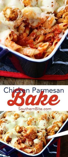 This Chicken Parmesan Bake recipe is comfort food for the whole family. #casserole