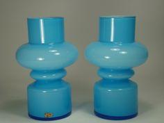 For sale on Design Addict - February 2015 - Gunnar Ander for Lindshammar vases from Lindshammar, Sweden. Designed by Gunnar Ander. One vase with worn label. Mid-century Interior, Vase Centerpieces, Living Styles, Retro, Vintage Designs, Sweden, Scandinavian, Glass Art, Vintage Items