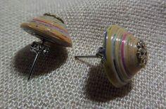 Paper bead stud earrings