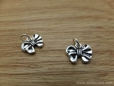 925 Sterling Silver Thai Silver Bowknot Charm Pendants Retro Design DIY Findings LFJ31