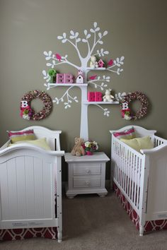 Twin Nursery.  White Cottage Crib.  White Tree Wall Shelving Decal.  Fabric Wreaths.