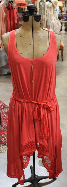 Beautiful coral dress with lace hem $100.95