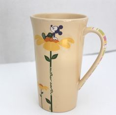 Walt Disney Earth Day Mickey Mouse Mother Earth Tall Yellow Ceramic Mug #DisneyStore