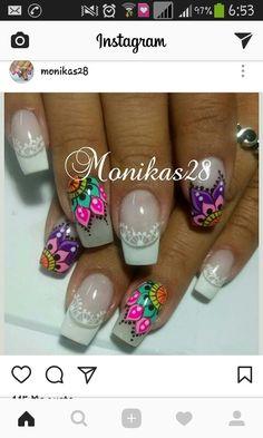 Diy Nail Designs, Flower Nails, Perfect Nails, Cool Nail Art, Stiletto Nails, Nail Arts, White Nails, Manicure And Pedicure, Spring Nails