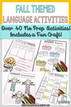 Make therapy planning for your fall speech and language therapy sessions a breeze with this no prep language activities pack! Perfect for speech therapy sessions and sending home for homework! Head to our store to check it out!
