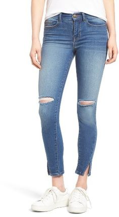 Women's Sp Black Slit Knee Skinny Jeans