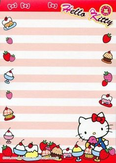 Hello Kitty Sweet Dessert Memo Pad: I'm really into kawaii stationary right now and this is one of the cutest Hello Kitty memo pads I've seen. Sanrio Wallpaper, Hello Kitty Wallpaper, Sanrio Hello Kitty, Hello Kitty My Melody, Pen Pal Letters, Kawaii Gifts, Hello Kitty Birthday, Hello Kitty Collection, Kawaii Stationery