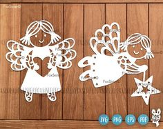 Angels Svg Flying angel Svg Cute little girl Svg Fairy Svg Stencil Material, Vinyl Paper, Decorate Notebook, Christmas Svg, Christmas Stockings, Cute Little Girls, Stencil Art, Paper Cutting, Angels