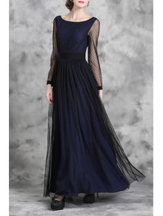 Voile Spliced Long Sleeve Maxi Dress DEEP BLUE: Maxi Dresses | ZAFUL