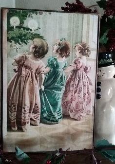 Primitive Christmas Sign Victorian Parlor Vintage Postcard Reproduction 4 of 4…