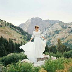 Modest wedding dress with elbow sleeves from alta moda bridal - - (modest bridal gown)