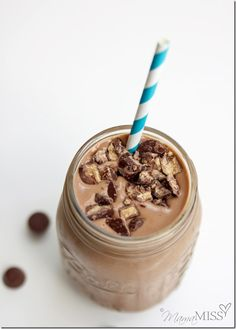 Peanut Butter Cup Chocolate Shake...it is actually a healthy shake!!