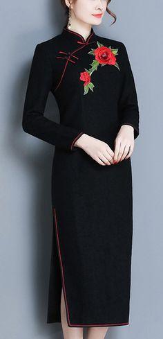 Graceful Stand Collar Long Sleeve Embroidery Cheongsam Dress