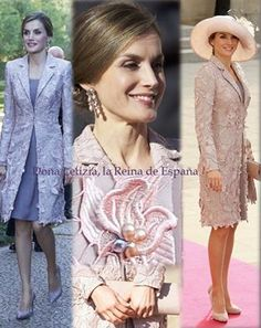 Queen Letizia wore a dress, coat and bag by Felipe Varela, shoes by Magrit. Letizia already wore the outfit already in October 2012 for the wedding in Luxembourg. Letizia turned the beads from the coat into earrings