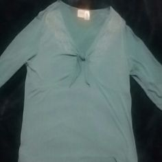 Shirt Turquoise with beading on each side of neck area 3/4 sleeves Merona Skirts