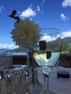 View of the lake from the patio at Laughing Oyster Restuarant between Lund and Powell River, BC