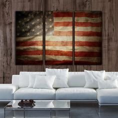 Vintage American Flag on Canvas 3 panel set. by HolyCowCanvas