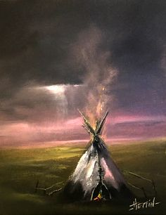 Indian Teepee Painting, Native American Painting, Original Oil Painting, Native American Art
