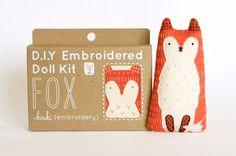 Fox DIY Embroidery Kit by kirikipress on Etsy