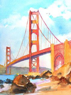 "Golden Gate Bridge San Francisco California: Unique, Original Watercolor Painting by Carlin Blahnik. Not a print. Title: ""Golden Gate Bridge 3"" Size: 9x12 inch Material: Artist Quality Watercolor on Arches 140lb paper Main Colors: Blue, red, brown"