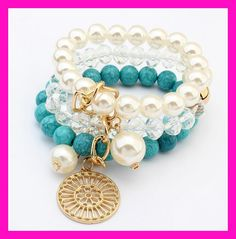Fashion pearl crystal turquoise beads three laps temperament female bracelet small fresh wild jewelry BELLE NOEL