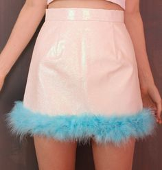 Image of Made To Order - Michelle White Glitter Skirt with Blue Fur