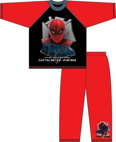 Amazing Spiderman Pyjamas. Made from 100% cotton with long sleeves and elasicated waist trousers. Lovely print of Spiderman on the front and a mini Spiderman logo to one leg. These Spiderman Pyjamas are red and black and look great. In sizes 3-4 years, 4-5 years, 5-6 years, 6-7 years, 7-8 years, 8-9 years and 9-10 years.