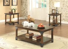 The Coaster Furniture Wooden 3 Piece Coffee Table Set - Brown blends rustic style with industrial touches. A grooved plank-like tabletop and metal brackets. Coaster Fine Furniture, Furniture Making, Living Room Furniture, Square Side Table, Coffee Table Rectangle, Coffee Tables, Unique Home Decor, Home Decor Items, 3 Piece Coffee Table Set