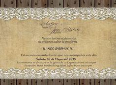 Invitación de BODA Rustica & Vintage