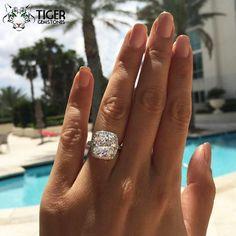 5 Carat Cushion Cut Halo Filigree Ring by TigerGemstones on Etsy