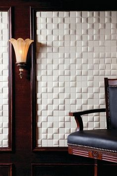 faux leather tiled wall