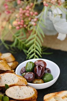 fresh bread and olives