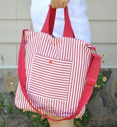 SALE Messenger bag Red White striped Tote bag by DokumaAccessories, $18.90