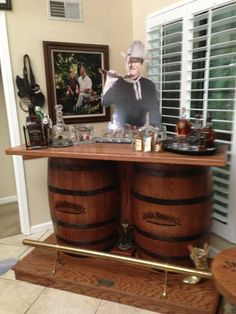 Home Bar with Kegerator . Home Bar with Kegerator . Bar with Kegerator & Wine Fridge Stock Pine Cabinets Whiskey Barrel Coffee Table, Wine Barrel Wall, Barrel Table, Whiskey Barrels, Bourbon Barrel, Jack Daniels Barrel, Jack Daniels Bottle, Home Bar Furniture, Barrel Furniture
