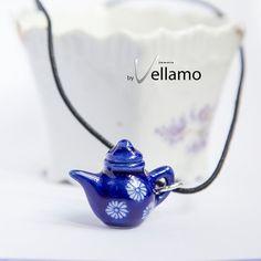 Delicate blue teapot / coffee pot pendant porcelain by byVellamo