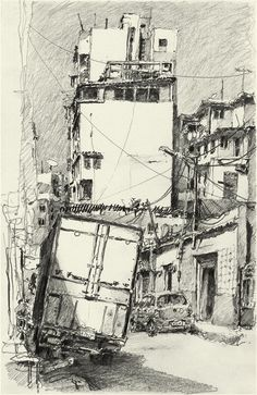 Pencil Art, Pencil Drawings, Frederic, Graphite Drawings, Architecture Drawings, Urban Sketching, Anime Scenery, Urban Landscape, Sketchbooks