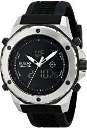 Bulova Men's 98C119 Stainless Steel Watch with Black Rubber .Band