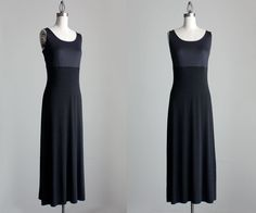BLACK MAXI DRESS 1990s Vintage Simple Black Grunge by decades, $42.00