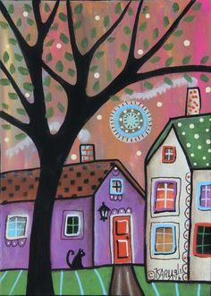 Purple House ORIGINAL Canvas Panel PAINTING FOLK ART 5 x 7 tree cat Karla G #FolkArtAbstractPrimitive