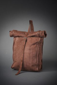Lostboydesign  roll-top leather backpack
