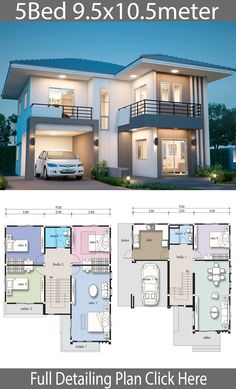 5 Bedroom Duplex House Plans Inspirational House Design Plan 9 with 5 Bedrooms 5 Bedroom House Plans, Duplex House Plans, Bungalow House Plans, Family House Plans, 2 Storey House Design, Simple House Design, Bungalow House Design, Modern House Design, Sims House Plans