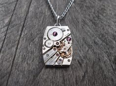 Clockpunk Steampunk Pendant Necklace, Stainless Steel Watch Movement with Swarovski Crystals on Silver Curb Link Chain