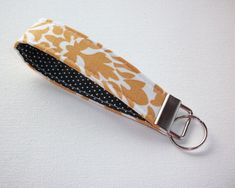 Key FOB / KeyChain / Wristlet key strap   gold damask by Laa766 chic / cute / preppy / fabric / patterned / accessories / for you, co-worker or school gifts / home, office decor