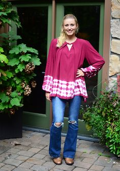 This flowy burgandy tie dye top is perfect for Fall nights out! Pair with leggings and boots for the most comfortable outfit! Shop now at Hip Chics Boutique!